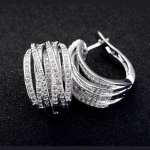 Jewelry - Intertwined White Sapphire Sterling Silver Hoops